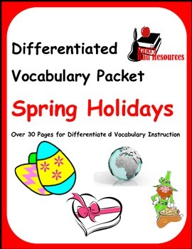 Differentiated Vocabulary Packet for ESL Students - Spring