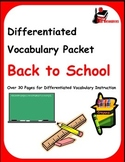 Differentiated Vocabulary Packet for English Language Learners - Back to School