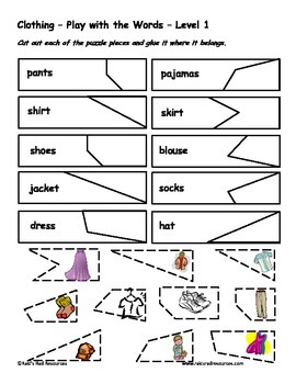 Differentiated Vocabulary Packet for ESL Students - Clothing