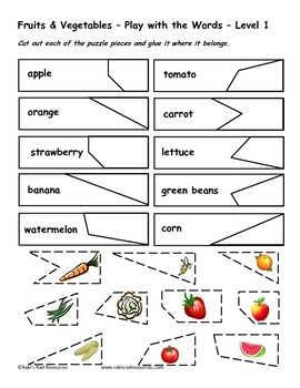 Differentiated Vocabulary Packet for ESL Students - Fruits & Vegetables