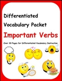 Differentiated Vocabulary Packet for ESL Students - Important Verbs