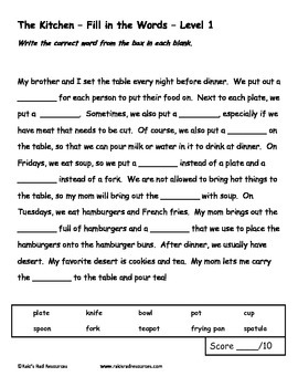 Differentiated Vocabulary Packet for ESL Students - Kitchen Items