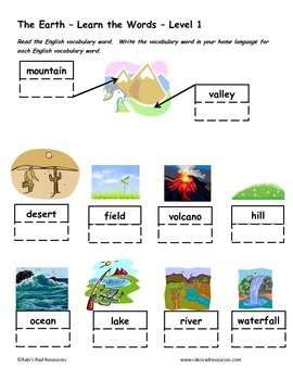 Differentiated Vocabulary Packet for ESL students - The Earth