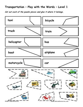 Differentiated Vocabulary Packet for  ESL students - Transportation
