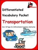 Differentiated Vocabulary Packet for  ESL students - Trans