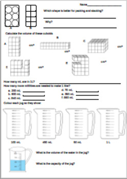 Differentiated Metric Volume and Capacity Worksheets