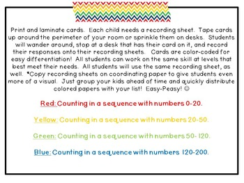 First Grade SCOOT Game: Counting