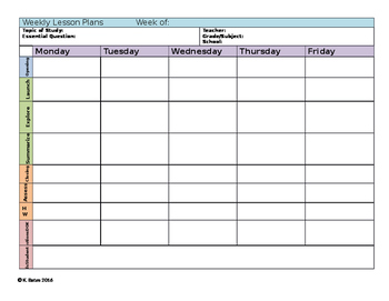 Secondary Differentiated Weekly Lesson Plan Template with strategies for all!
