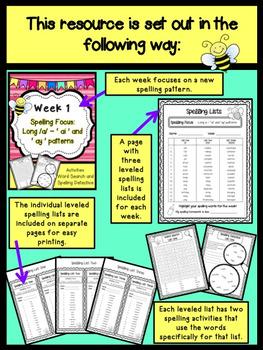 Weekly Spelling Lists - Differentiated - SET ONE Weeks 1 - 10