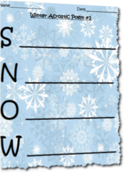 Differentiated Winter Break Acrostic Poem Activity Set
