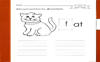 Differentiated Word Family Slider