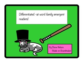 Differentiated Word Family -at Emergent Reader Preview!