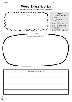 Differentiated Word Investigation Worksheets