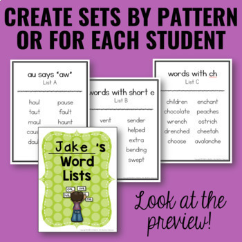 Differentiated Word Lists/Portable Word Wall for Spelling Activities - EDITABLE!
