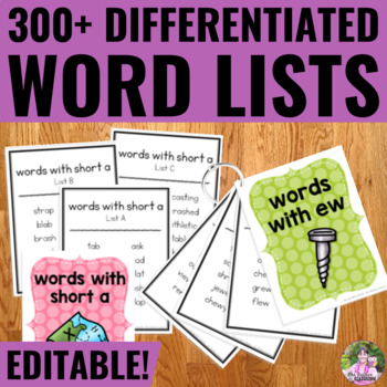 Word Lists/Portable Word Wall for Word Work and Spelling Activities - EDITABLE!