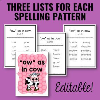 Word Lists | Spelling Lists for Word Work and Spelling Activities | EDITABLE!