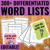 Word Lists for Word Work and Spelling Activities EDITABLE