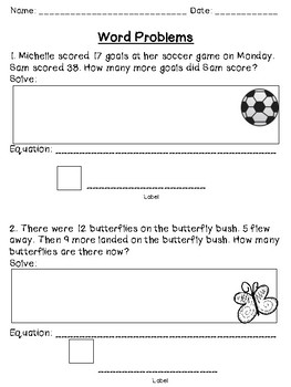 Differentiated Word Problem Packet