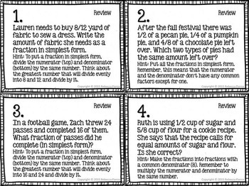 Differentiated Word Problem Task Cards: Fraction Equivalence and Comparison