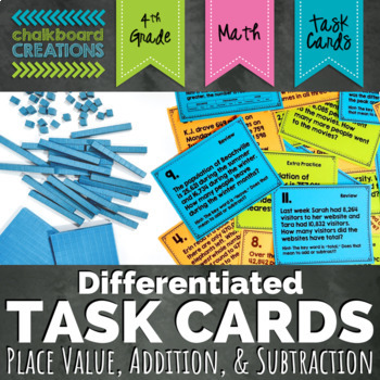 Differentiated Word Problem Task Cards: Place Value, Addition, and Subtraction