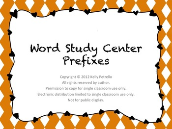 Differentiated Word Study Center: Prefixes