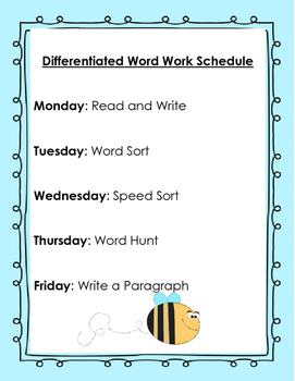 Differentiated Word Work Activities