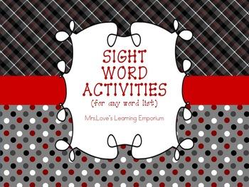 Differentiated Word Work Activities (for any word list) w/ BINGO Board Bonus