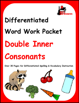 Differentiated Word Work & Vocabulary Packet - Double Inner Consonants