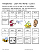 Differentiated Word Work & Vocabulary Packet - Homophones