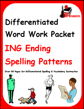 Differentiated Word Work & Vocabulary Packet - ING Endings (Double Consonants)