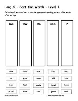 Differentiated Word Work & Vocabulary Packet - Long O