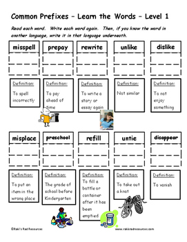 Differentiated Word Work & Vocabulary Packet - Prefixes