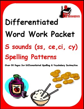Differentiated Word Work & Vocabulary Packet - S Sounds - SS, CE, CI, CY