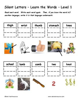 Differentiated Word Work & Vocabulary Packet - Silent Letters