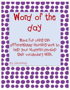 Differentiated Word of the Day Packet