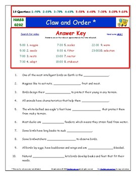 Differentiated Worksheet, Quiz Ans - Magic School Bus - Claw and Order *