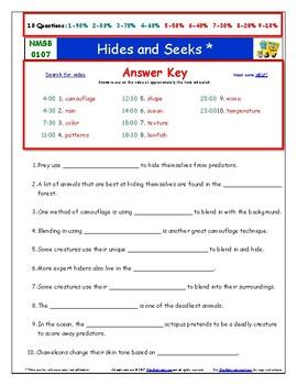 Differentiated Worksheet, Quiz, Ans - Magic School Bus - Hides and Seeks *
