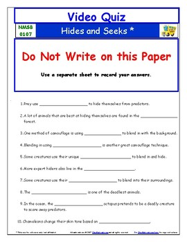 Differentiated Worksheet, Quiz, Ans - Magic School Bus - Hides and Seeks *
