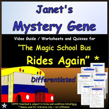 Differentiated Worksheet, Quiz Ans - Magic School Bus - Janet's Mystery Gene *