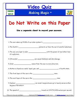 Differentiated Worksheet, Quiz Ans - Magic School Bus - Making Magic - Matter *