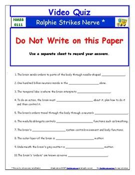 Differentiated Worksheet, Quiz Ans - Magic School Bus - Ralphie Strikes Nerve  *
