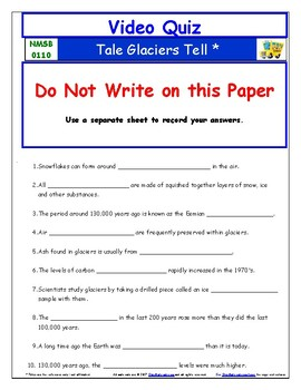 Differentiated Worksheet, Quiz, Ans - Magic School Bus -Tales Glaciers Tell *