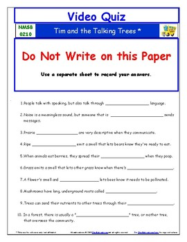 Differentiated Worksheet, Quiz Ans - Magic School Bus Tim and Talking Trees *