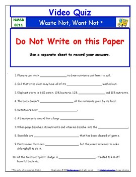 Differentiated Worksheet, Quiz Ans - Magic School Bus - Waste Not, Want Not  *