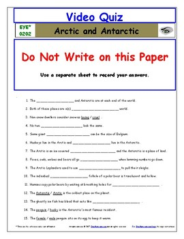Differentiated Worksheet, Quiz, Ans for Eyewitness * - Arctic Antarctic