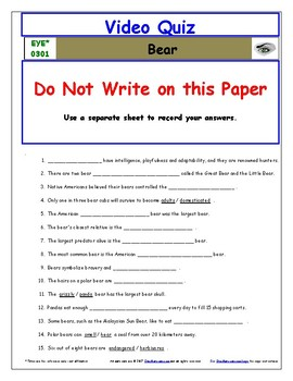 Differentiated Worksheet, Quiz, Ans for Eyewitness * - Bear