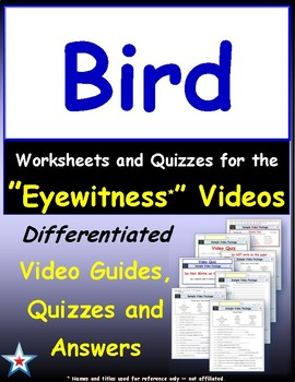 Differentiated Worksheet, Quiz, Ans for Eyewitness * - Bird