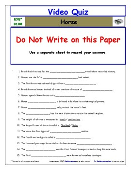 Differentiated Worksheet, Quiz, Ans for Eyewitness * - Horse