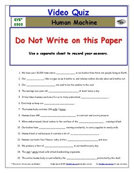 Differentiated Worksheet, Quiz, Ans for Eyewitness * - Human Machine