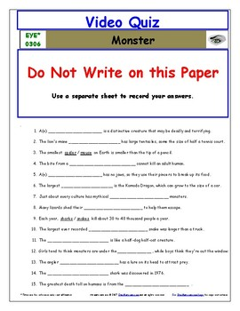 Differentiated Worksheet, Quiz, Ans for Eyewitness * - Monster